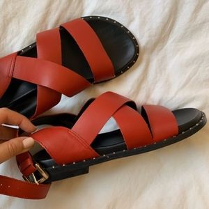 new Topshop leather sandals red black